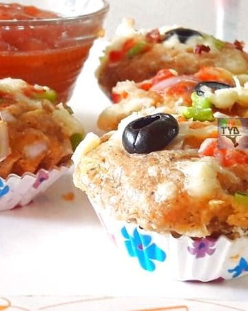 close-up side view of Pizza muffin