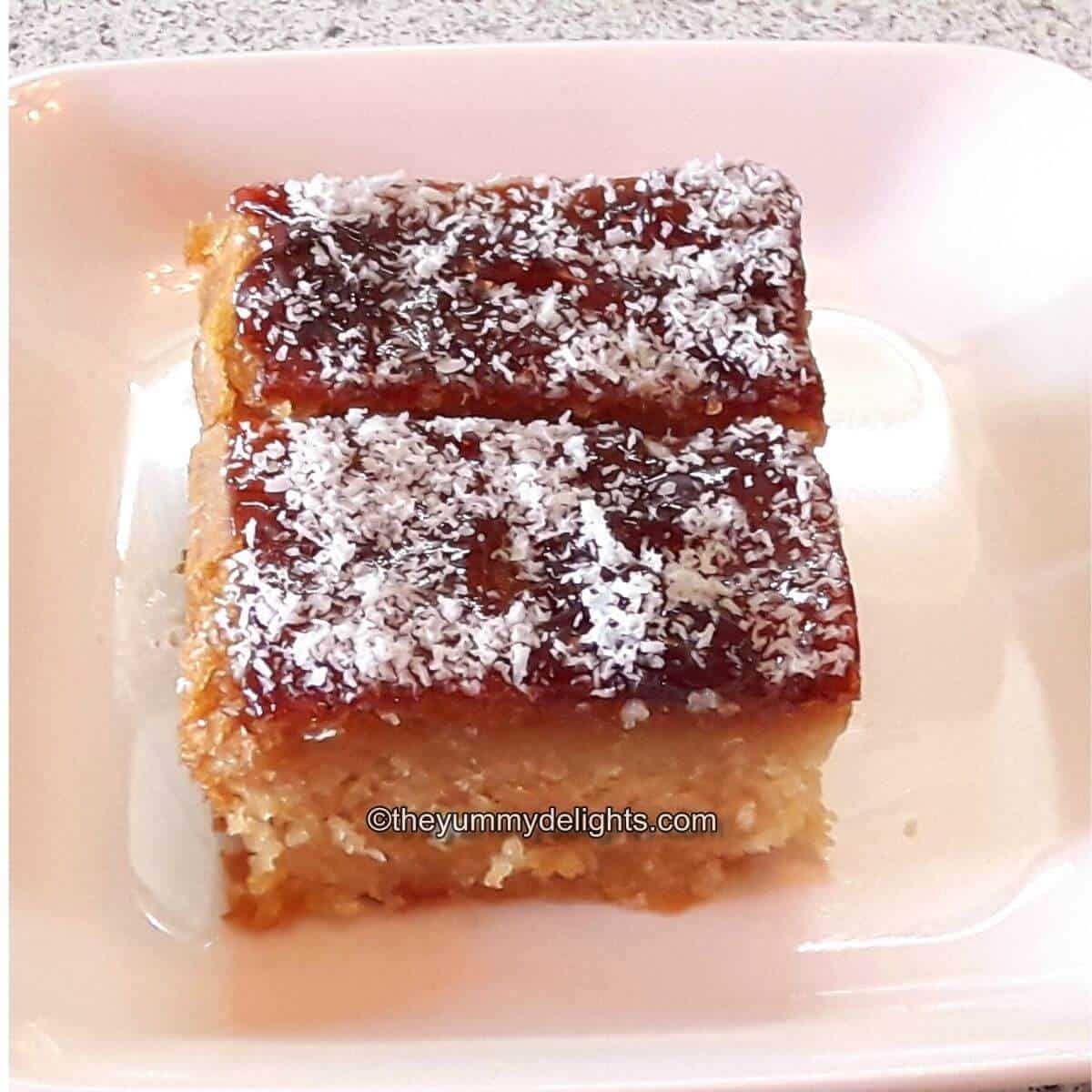 close up of honey cake recipe