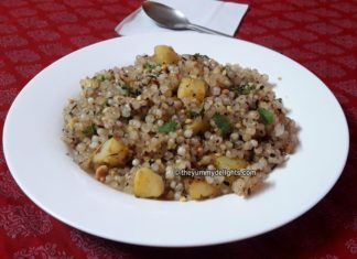 Sabudana khichdi made during fast or sometimed in breakfast.