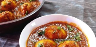 Dhaba style egg curry close up view
