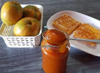 Mango jam recipe made with only 3 ingredients. Mango pulp, sugar and lemon juice.