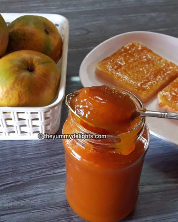 Mango jam recipe made with only 3 ingredients. Mango pulp, sugar and lemon juice.