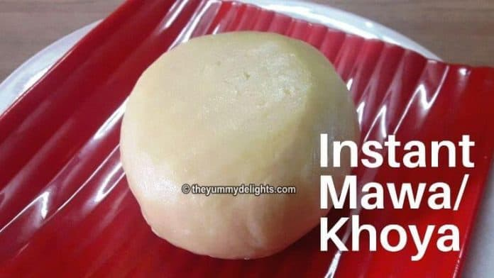 Instant mawa made with milk powder, milk and ghee. Served on a red plate.