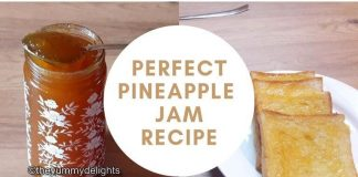 pineapple jam stored in a glass jar