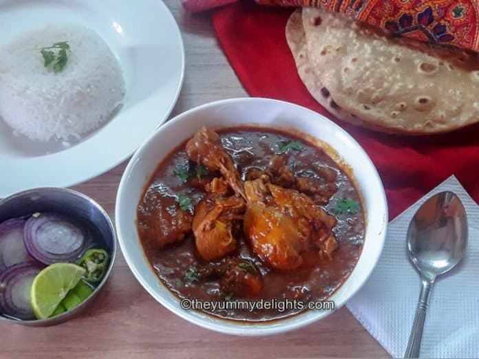 dhaba style steamed rice served with Roti and steamed rice