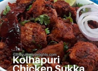 Kolhapuri chicken sukka served in a white bowl.