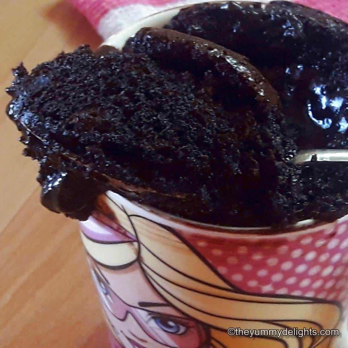 close up of chocolate mug cake made in microwave.