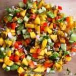 Mango salsa close up view.