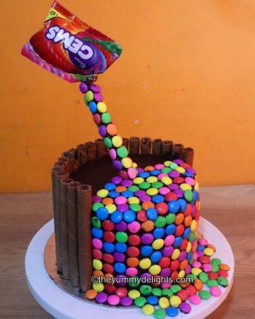 Close up of gravity defying cake