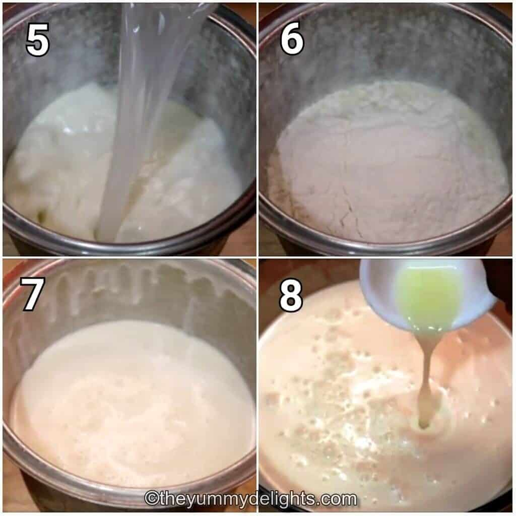step by step image collage of making the ghevar batter.